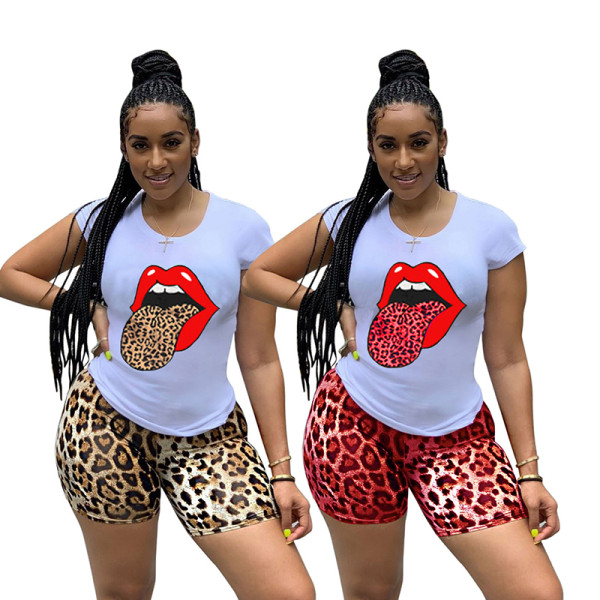 Q051323-2 Hot sale Fashion Summer casual leopard print 2 Pcs Suit Outfits Two Piece Shorts Set Women Clothing For Women Two Piece
