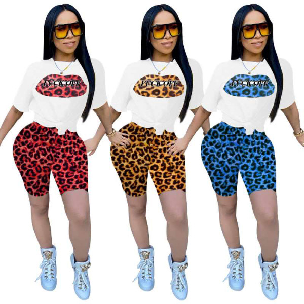 Q051321-3 Summer Newest fashion sports leopard spliced print 2 Pcs Track Suit Outfits Two Piece Shorts Set Women Clothing For Women Two Piece