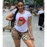 Q051323-1 Hot sale Fashion Summer casual leopard print 2 Pcs Suit Outfits Two Piece Shorts Set Women Clothing For Women Two Piece