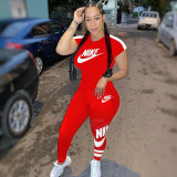 Q051324-1 Summer Solid Color NIKE O Neck Long Pant And Short Sleeve Women Two Piece Sport Track Suit Outfits