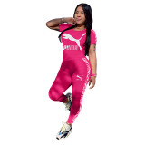 Q051320-3 Fashionable Solid Color O Neck Long Pant And Short Sleeve Women Two Piece Sport Track Suit Outfits