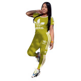 Q051317-5 Fashion Solid Color O Neck adidas Long Pant And Short Sleeve Striped Women Two Piece Sport Track Suit Outfits