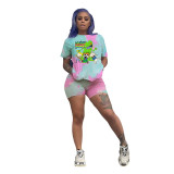 Q051303-1 Newest Summer fashion sports cartoon tie-dyed Suit Two Piece Shorts Set Women Clothing For Women Two Piece