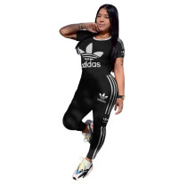 Q051317-2 Fashion Solid Color O Neck adidas Long Pant And Short Sleeve Striped Women Two Piece Sport Track Suit Outfits