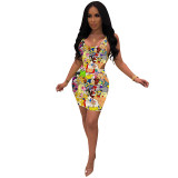 Q051313-2 2020 Summer Sexy cartoon print 2 Pcs Dress Outfits bodycon Skirt And Top Two Piece dress Set Women Clothing