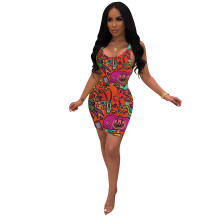 Q051313-3 2020 Summer Sexy cartoon print 2 Pcs Dress Outfits bodycon Skirt And Top Two Piece dress Set Women Clothing