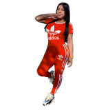 Q051317-1 Fashion Solid Color O Neck adidas Long Pant And Short Sleeve Striped Women Two Piece Sport Track Suit Outfits