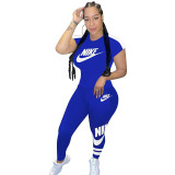 Q051318-3 Summer 2020 Fashion Solid Color O Neck NIKE Long Pant And Short Sleeve Women Two Piece Sport Track Suit Outfits