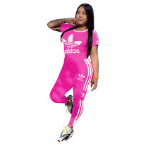 Q051317-3 Fashion Solid Color O Neck adidas Long Pant And Short Sleeve Striped Women Two Piece Sport Track Suit Outfits