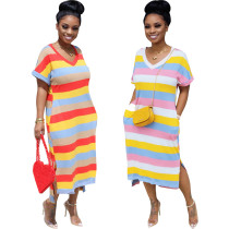 Q052901 2020 Hot sale Design fashion loose stripe Maxi Long Lady Elegant Sexy Clothes Summer split skirt Women Girls' Casual Dress