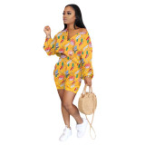 0050716 Newest 2020 Summer new fashion Cartoon printing leisure suit Sexy 2 Pcs Track Suit Outfits Two Piece Set Women Clothing