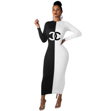 Q060504 Best design fashion long sleeve patchwork pattern Maxi Long Lady Elegant Sexy bodycon Clothes Summer Women Girls' Casual Dress