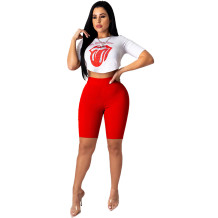 Q060503-1 2020 Summer Sexy 2 Pcs Track Suit Outfits t shirt pattern top and Shorts Two Piece Set Women Clothing For Women Two Piece