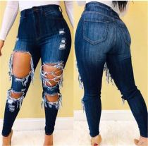 0060231 Best Seller Summer New Design Holes Distressed Women Denim Pants Female Bottoms Ladies Pencil Trousers Ripped Jeans