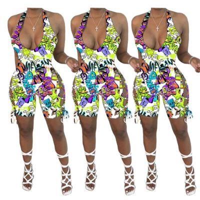 0060213 Best Design 2020 Summer Cartoon Print Halter Sexy Bodycon One Piece Jumpsuits Women Bandage Short Rompers