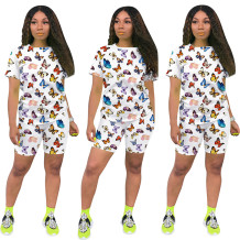 Q060511-1 Casual Tongue Butterfly Print Sport 2 Pcs Track Suit Outfits Two Piece Short Set For Women