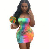 0060205 Fashion New Tie-Dye Spaghetti Straps Tshirt Night Club Mini Dress Summer Colorful Women Casual Short Dress