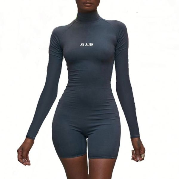 0051507 Hot Onsale Long Sleeve Back Zipper New Skin Sports Fitness Short One Piece Women Jumpsuit Exercise Casual Romper