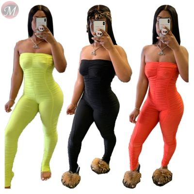 0050704 Wholesale 2020 summer Custom solid color draped chest wrap Jump Suit Sexy Bodycon Women One Piece Jumpsuits And Rompers