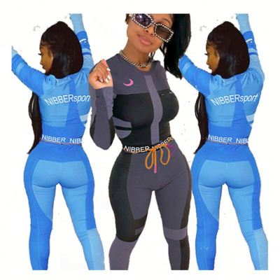 0051506 Wholesale Price New Long Sleeve Crop Top Contrast Color Womens 2 Piece Sets Sports Gym Fitness Two Piece Pants Set