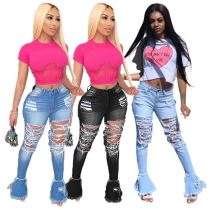 0051816 Stylish Mid Waisted Washed Ripped Denim Pant Ladies Rough Selvedge Flared Long Fashion Womens Jeans Pants