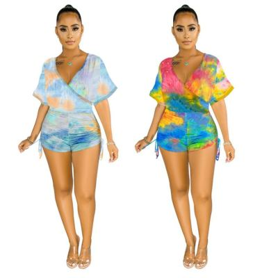 0051809 Good Quality Short Sleeve Colorful Print Romper Side Pleated Drawstring Design Woman Fashion One Piece Jumpsuit