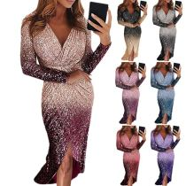 0051513 Newest Design V Neck Pleated Asymmetrical Ladies Sequin Dress Long Sleeve Gradient Color Women Party Dresses