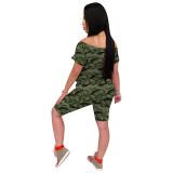 Q060515-1 Camouflage Off Shoulder Women Mouth Print 2 Pcs Track Suit Outfits Two Piece Short Set