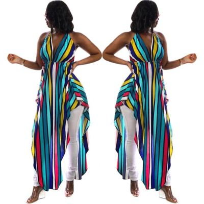 0051825 Hot Casual Striped Printed Halter Deep V Asymmetrical Maxi Length Summer New Design Stylish Ladies Tops For Women