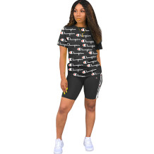 Q060508-4 2020 Summer fashion hot sale Sexy letter print short sleeve 2 Pcs Track Suit Outfits Two Piece Shorts Set Women Clothing For Women Two Piece