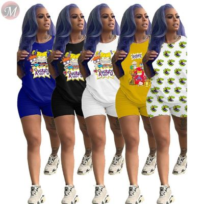 0050710 High quality Summer casual sports suit Cartoon print Sexy 2 Pcs Track Suit Outfits Two Piece Shorts Set Women Clothing