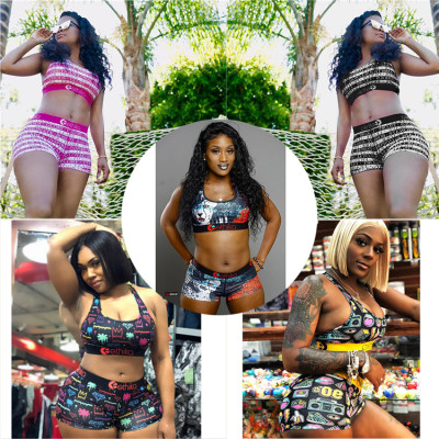 0051301 Hot onsale 2020 Summer digital printing Sexy sweat suit 2 Pcs Track Suit Outfits Two Piece Shorts Set Women Clothing