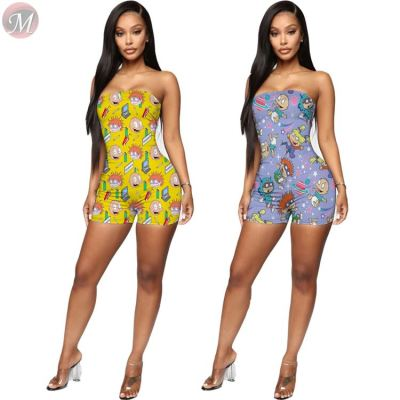 0050705 Fashionable 2020 Wholesale Summer cartoon print sexy wrap chest jumpsuit shorts Women One Piece Jumpsuits And Rompers