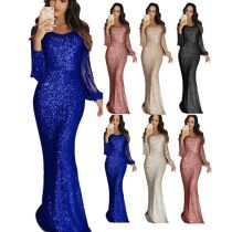0051510 New Arrival Fashion Long Tassel Sleeve Sequined Maxi Dresses Sequin Floor Length Ladies Trendy Evening Women Party Dress