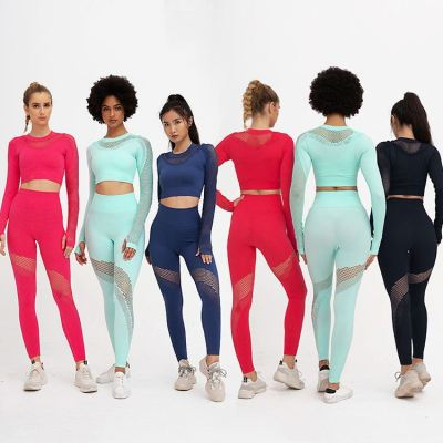 0051523 Hot Selling Solid Color Long Sleeve Net Patchwork Top And Pants Set High Waist Long Sports Yoga Two Piece Outfits