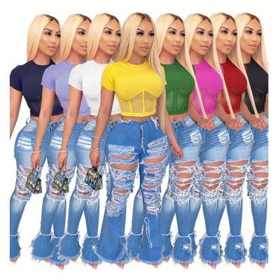 0060235 Fashional Mesh Spliced Solid Color Shaped Top Short Sleeve Casual Design Fashion Crop Top Women Tshirt