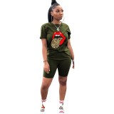 Q060511-8 Casual Tongue Butterfly Print Sport 2 Pcs Track Suit Outfits Two Piece Short Set For Women