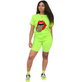 Q060511-3 Casual Tongue Butterfly Print Sport 2 Pcs Track Suit Outfits Two Piece Short Set For Women