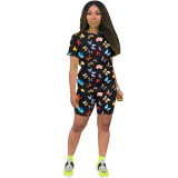 Q060511-9 Casual Tongue Butterfly Print Sport 2 Pcs Track Suit Outfits Two Piece Short Set For Women