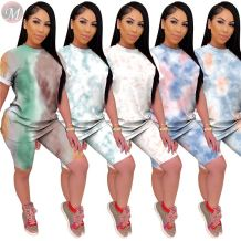 0050714 Best price 2020 Summer tie-dye Sexy 2 Pcs Track Suit sweat suit Outfits Two Piece Shorts Set Women Clothing For Women