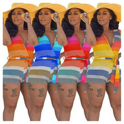 0060524 New Casual Short Sleeve V-Neck Ladies Jumpsuit Stripe Printed Belt Summer Fashional Bodycon Women Jumpsuits And Rompers
