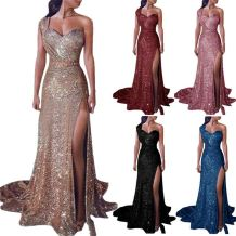 0051509 Latest Design Solid Color One Shoulder Shining Sequin Party Dresses High Slit Full Length Maxi Women Evening Dresses