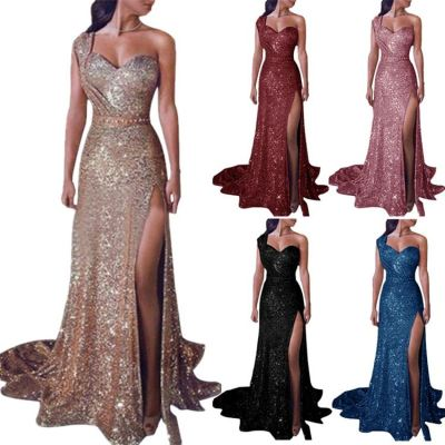 0051509 Latest Design Solid Color One Shoulder Shining Sequin Party Dresses High Slit Full Length Maxi Women Evening Dresses