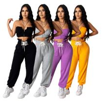 0051801 Popular Solid Color Crop Top Straight Pant Casual Two Piece Summer Agaric Strapless Casual 2 Piece Set Women Clothing