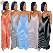 0050713 Newest 2020 Summer Sexy v neck straps loose striped printing Lady Elegant Clothes Maxi Long Women Girls' Casual Dress