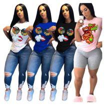 0060204 Summer Fashionable Latest Design Casual Ladies Basic Tops Funny Cartoon Print Tshirt Short Sleeve Women T Shirt