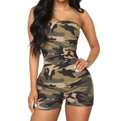 0060219 Hot Onsale Solid Color Camouflage Print Sleeveless Skinny Jumpsuit Women Fashion Casual Strapless One Piece Rompers