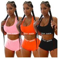 0060301 High Quality Solid Color Crop Top And Shorts Letter Print Two Piece Set Women Clothing Sportswear Track 2 Piece Sets
