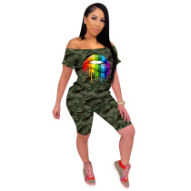 Q060515-1 Camouflage Off Shoulder Women Mouth Print 2 Pcs Track Suit Outfits Two Piece Short Set
