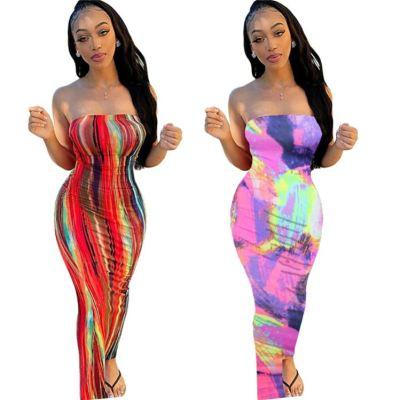 0060502 Hot Sale Ladies Trendy Design Tie Dye Strapless Dress Summer Fashional Simple Wholesale Straight Maxi Long Women Dress
